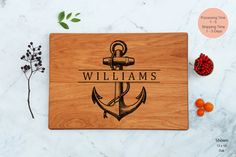 Unique Wedding Couple Anchor Cutting Board Wooden Best Friend Engagement Gift Personalized Bridal Last Name Father's Day Nautical Engraved