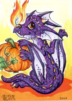 ACEO Halloween Dragon Kid by Nenu.deviantart.com on @deviantART