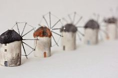 Windmills of Greece - clay sculpture by Artisanie Europe Clay Houses, Ceramic Houses, Miniature Houses, Ceramic Clay, Wood Houses, Cardboard Houses, Putz Houses, Paper Houses, Clay Projects
