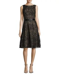 B3S6H Liancarlo Macramé Sleeveless Cocktail Dress, Black