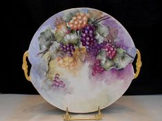 Beautiful Limoges Handled Charger with Richly Colored Bunches of Grapes