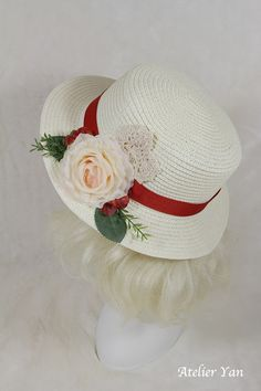 Jenny by Atelier Yan Flowers and Red Ribbon Hat*Handmade*Ready to Ship*#00058