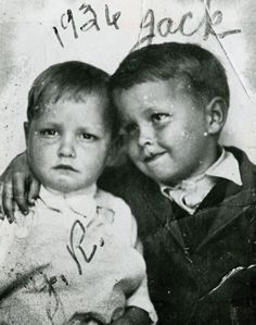Johnny Cash and his older brother, Jack, in 1936. Jack died at age 15 in a sawmill accident.  Johnny Cash's name was plain J.R. until he enlisted in the Air Force.  They didn't allow plain initials, so he chose the name John.