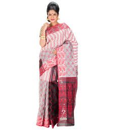 Buy RED and GREY hand woven cotton saree with blouse hand-woven-saree online
