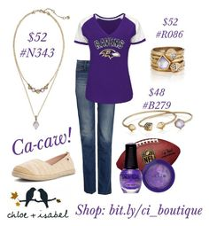 """""""Ravens game day"""" by katherineinsley-candi on Polyvore featuring Roxy, Stila, SpaRitual and Chloe + Isabel"""