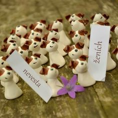Jack Russel's Terrier wedding name tags....painted from the photo of the dog... #JRT #jackrusselsterrier #wedding #nametag #polymer #bride #groom