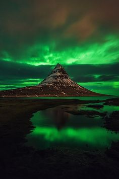 Aurora at Mount Kirkjufell in Iceland