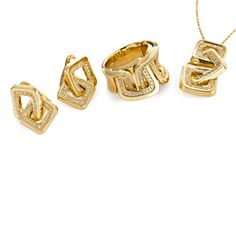 CHIMENTO Diana gold and diamonds earrings, ring and necklace.