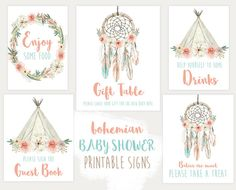 Baby Shower Signs, Decorations, Boho, Dream Catcher, Printable Signs (726)