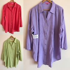 WOMAN WITHIN PLUS 18/20,22/24 LAVENDER, GREEN,CORAL SHIRT TOP BLOUSE COTTON