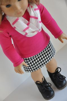 Black and White Houndstooth Mini Skirt with Pink by CircleCSewing