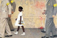 Norman Rockwell's painting The Problem We All Live With is directly addressing the racist crisis in 1960s at New Orleans.