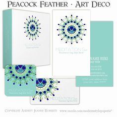 This is a simple, modern, sleek #business #card design perfect for high end businesses such as spas, salons, make up stylists, modern gift shops, cosmetology and cosmeticians.  This Art Deco style artwork is hand painted in watercolor by Audrey Jeanne Roberts.  Inspired by Peacock feathers, it is a geometric circular, circle scroll pattern with a swirling flourish leaf pattern that frames a peacocks feather eye motif in the center.