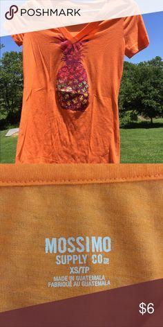 Pineapple Shirt Cute colorful pineapple 🍍 on pretty orange shirt. Like new condition. Smoke free home. Mossimo Supply Co Tops Tees - Short Sleeve
