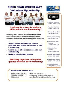 The Pikes Peak United Way Community Investment Process is well under way, and we need volunteers to help with the review process! Please share this post with anyone you think might be interested, and contact Lara or Amy, if you'd like to serve the community in this way.