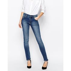 Cheap Monday Tight Skinny Jeans ($84) ❤ liked on Polyvore featuring jeans, base dark blue, super low rise skinny jeans, skinny fit jeans, white jeans, tall jeans and white skinny leg jeans