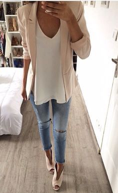 White tee + blush blazer.