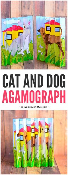 Cat and Dog Agamograph Printable Template for Kids