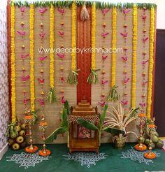 Background Decoration, Backdrop Decorations, Flower Decorations, Wedding Decorations, Wedding Lanterns, Eco Friendly Ganpati Decoration, Ganpati Decoration Design, Diwali Decorations At Home, Festival Decorations