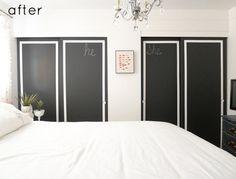 Chalk paint over mirrored closet doors credit: Design Sponge [ http://www.designsponge.com/2012/02/before-after-bedroom-makeover.html]