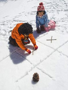 Tic-Tac-Snow - Two players go for the championship in this classic game. Use crisscrossed sticks and pinecones as game pieces.