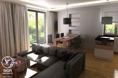 Aranżacja salonu wystrój nowoczesny w kolorach brązowy, szary - projekt wnętrza #5595101, Homplex