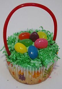 Cute easter basket cupcakes- made this into a large cake a few years ago for Easter/kids' birthay cake... easy :)