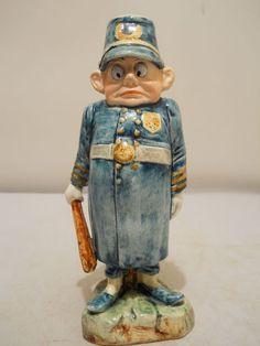 "1890s Palmer Cox ""Brownie"" Majolica Cop Candlestick."