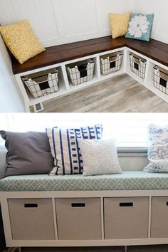 21 easy DIY benches: best tutorials & free plans for upholstered or wood benches with back, outdoor garden benches, IKEA hack & storage crate bench ideas! Ikea Hack Bench, Ikea Hack Storage, Diy Bench Seat, Crate Bench, Diy Wood Bench, Storage Bench Seating, Wood Benches, Porch Bench With Storage, Indoor Outdoor
