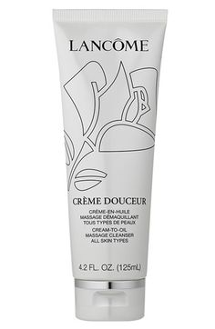 Lancôme 'Crème Douceur' Cream-to-Oil Massage Cleanser (4.2 oz.). Excellent for removing everything; a basic cold cream product.