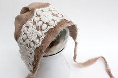 NEW - newborn fabric BONNET  - photography prop - tan, cream. $32.00, via Etsy.