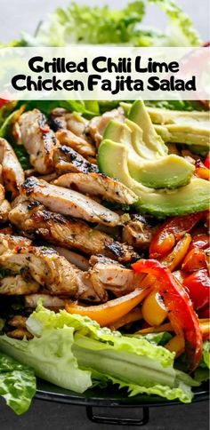 Tender and juicy chicken thighs grilled in a chili lime mari.- Tender and juicy chicken thighs grilled in a chili lime marinade that doubles as a dressing! Creamy avocado slices, grilled red and yellow peppers, and succulent chicken pieces. Grilled Chicken Thighs, Grilled Chicken Salad, Chicken Salad Recipes, Healthy Chicken, Salad With Chicken, Chicken Fajita Salad Recipe, Chicken Salads, Avocado Chicken, Chicken Sandwich