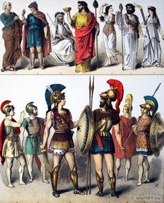Ancient Hoplites greek soldiers Costumes and armor - 1. Greek Philosopher. 2. Grecian Citizens. 3. Priest of Ceres. 4.6. Priests of Bacchus. 5. Female Bacchantes. 7. Greek Priestess. 8-13. Greek Hoplites heavily armed foot-soldier