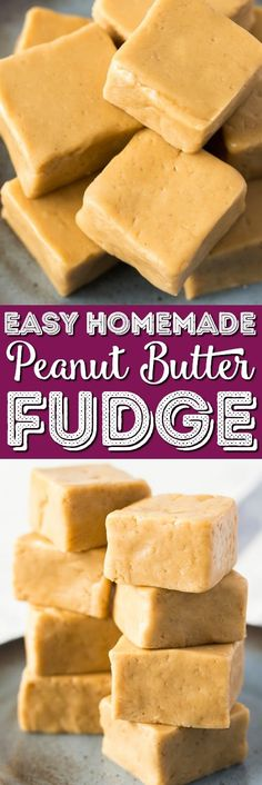 This Easy Peanut Butter Fudge is a simple recipe to make and is the perfect balance of sweet and salty. It's soft and creamy and great for the holidays and special occasions or just because! via @sugarandsoulco