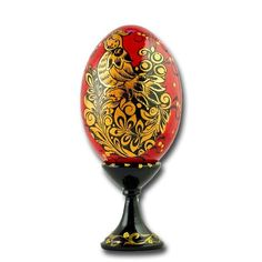 Golden Bird Russian Wooden Easter Egg