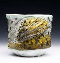 Mark Chuck - Salmon/Trout Mug Cup Yunomi  Hand Built, Fired to Cone 10 Reduction   Fish Art, Conservationist, Nautical, River, Stream, Nature,Wildlife Art, Fisherman,Yunomi, Dark, Chawan,Ceramics, Cup, Pottery, Yellow, Black, Orange, Green, Beverage, Tea, Wine Found at: https://www.etsy.com/listing/215478828/new-porcelain-hand-made-salmontrout-tea?ref=shop_home_active_20