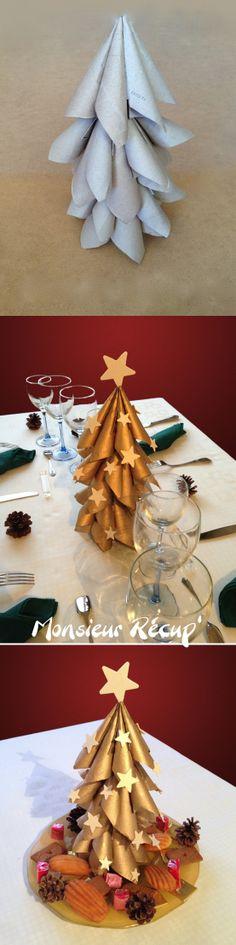 #tutoriel #Noel Centre de table réalisé avec des rouleaux de papier toilette. Monsieur Récup'