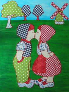 Titel schilderij: Holland 2. Met acrylverf op canvas geschilderd. De stofjes zijn op het canvas gestikt. Het formaat van het schilderij is 60 x 80 cm. Dit schilderij is nog te koop. Leuk in combinatie met Holland 1.