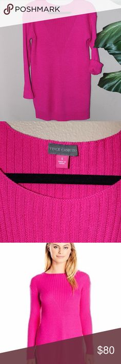 🎉SALE* Vince Camuto Hot Pink Ribbed Sweater Vince Camuto Hot pink Long Sleeve Ribbed V Textured Sweater Description A ribbed v textured knit pullover sweater with long sleeves Features: Ribbed Long sleeves. 62% Cotton 38% Acrylic Vince Camuto Sweaters Crew & Scoop Necks