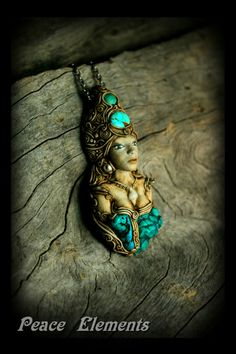 Aqua Goddess Hand Sculpted pendant with Turquoise gemstone  www.peaceelements.etsy.com