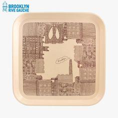 Plateau en fibre de verre,  imprimé Brooklyn.  Dimensions : 33 x33 cm
