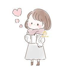 Cute Cartoon Pictures, Cute Cartoon Girl, Cute Love Cartoons, Cartoon Art, Cute Easy Drawings, Girly Drawings, Kawaii Drawings, Loli Kawaii, Kawaii Art
