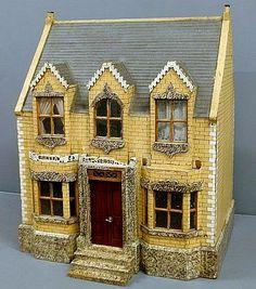 "English Victorian dollhouse ""Netta Villa 1899"" with original paint decoration."