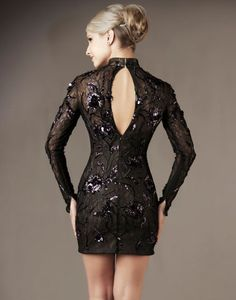 Black   Amethyst Sequin Embellished Lace Long Sleeve Homecoming Dress - Unique  Vintage - Cocktail 22205ca00