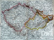 Historical map with Bohemia outlined in pink, Moravia in yellow, and Austrian Silesia in orange. Bohemia is a historical country of Central Europe, occupying the western two-thirds of the traditional Czech lands.