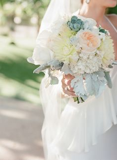 Pretty pale summer blooms: http://www.stylemepretty.com/2015/02/09/colorful-fall-bear-flag-farm-wedding/ | Photography: Elizabeth Messina - https://instagram.com/elizabethmessina/