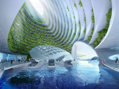 futuristic architecture projects - Aequorea, the floating city A bold imagination of Belgian architect Vincent Callebaut. The project is called Aequorea, and its construction is planned in the coastal waters of Rio de Janeiro. According to the author's design, these towns-alike skyscrapers could be self-sustaining by recycling marine resources to provide people with electricity, food, and water. And of course, the inhabitants would be able to enjoy sea views and stunning sunsets.