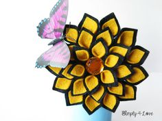 Bold Black and Old Gold 4inch felt Dahlia brooch/headband by Simply4Love, $19.90