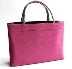 【和装バッグ】A4a4手提げバッグ濃いピンク地牡丹色「日本製」衿秀謹製和装用着物バッグ正絹トートバッグサブバッグシルクガード付き正絹組紐