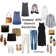 basic wardrobe summer 5 day trip capsule | Summer 2016 Capsule Wardrobe by bluehydrangea on Polyvore featuring ...